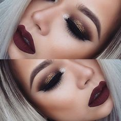 Classic glitter gold smokey dark blended eye makeup color, colorful eyeshadow, black eyeliner wing, eyebrow shape/ brows, highlights/ lowlights contour, airbrush effect, lips, deep red lipstick tone
