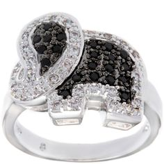 Kate Bissett Silvertone Clear and Onyx Cubic Zirconia Elephant... ($27) ❤ liked on Polyvore featuring jewelry, rings, cz rings, elephant jewelry, black onyx jewelry, cz cocktail rings e elephant ring