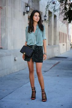 button up shirt, mini skirt, lace up heels, and structured bag for the perfect spring look