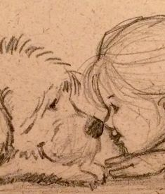 Little girl and her dog – Nose to nose – Pencil Sketch You can feel the love and trust between this little girl and her dog. Every artist struggles with working and refining a. Pencil Art Drawings, Art Drawings Sketches, Easy Drawings, Pencil Sketching, Pencil Sketch Art, Realistic Drawings, Drawing With Pencil, Pencil Sketches Of Girls, Art Illustrations