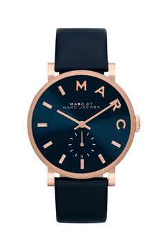 Loving the simple elegance of this navy and rose gold Marc Jacobs watch.