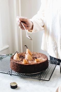 Sticky Date Olive Oil Cake with Chai Poached Pears