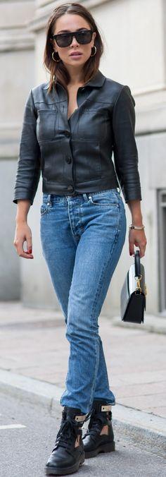 #fall #street #style | Black Leather + Denim