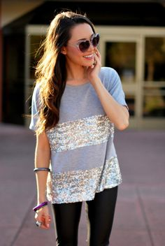 Night out style: Sequined tee + leather pants