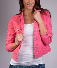 Fuchsia Rose Denim Jacket - Women | zulily