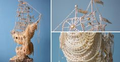 A Sailing Ship Dripping with Loot Explores the Perceived Status Symbol of Pearls (Colossal) Colossal Art, High Art, Jewelry Photography, Mixed Media Art, Plant Hanger, Sailing Ships, Cool Pictures, Symbols, Explore