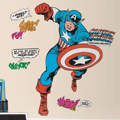 Classic Captain America Giant Wall Decals - Wall Sticker Outlet