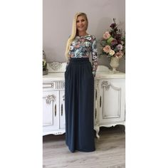 Gray Floral Maxi Women's Dress Long Sleeves Pockets ($85) ❤ liked on Polyvore featuring dresses, black, women's clothing, grey cocktail dress, long sleeve dresses, grey maxi dress, gray cocktail dress and floral dresses