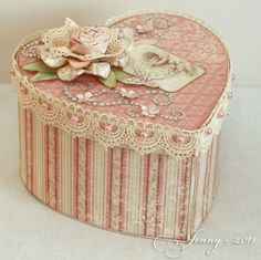 This Valentine's Day vintage heart shaped box is so adorable. Have a go and decorate it yourself and fill it with something delicious. Get one of our cardboard boxes and decorate it with some of our Decopatch papers and wrap it with a gorgeous ribbon. More craft and DIY ideas from http://www.craftmill.co.uk