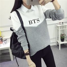 Bangtan Boys Kpop Hoodies Bts Album Love Yourself Sweatshirts Striped Patchwork Hoodies Pullovers Women Winter Clothes Drop Ship Hoodie Bts, Hoody Kpop, Sweatshirt Outfit, Kpop Outfits, Korean Outfits, Grunge Outfits, Casual Outfits, Lil Peep Hoodie, Bts Clothing