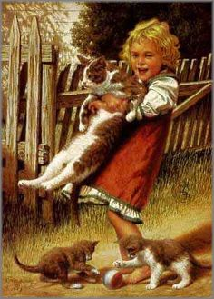 Jim Daly - Childhood Friends - Search Gallery One for Cats & Kittens limited edition prints, giclee canvases and original paintings by internationally-known artists Robert Duncan, Photo D Art, Norman Rockwell, Childhood Friends, Beautiful Paintings, American Artists, Vintage Children, Love Art, Cat Art