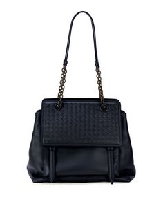 Intrecciato+Large+Flap+Satchel+Bag,+Navy+by+Bottega+Veneta+at+Neiman+Marcus.