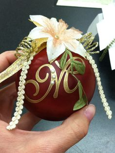 I made these for the employees for our Christmas ornament exchange. This was a plain frosted glass ball. It is dabbed in alcohol ink (a couple of different colors for depth) and then the Monogram Alphabet by Magenta; ribbons and flowers. Designed and made by Gena Barney Christmas Ornaments To Make, Christmas Diy, Christmas Bulbs, Christmas Decorations, Ball Ornaments, Christmas Wonderland, Winter Wonderland, Christmas Planning, Monogram Alphabet