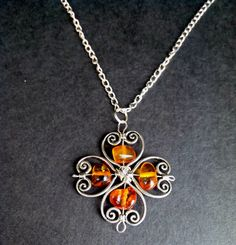 Baltic Amber Clover Necklace  Wire Wrapped by NadLieTreasures