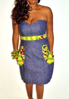 Ankara Print And Denim Short Strapless  Dress   by ZabbaDesigns. #Ankara #african fashion #Africa #Clothing #Fashion #Ethnic #African #Traditional #Beautiful #Style #Beads #Gele #Kente #Ankara #Africanfashion #Nigerianfashion #Ghanaianfashion #Kenyanfashion #Burundifashion #senegalesefashion #Swahilifashion ~DK