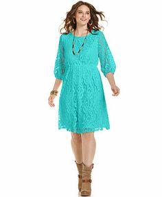ING Plus Size Three-Quarter-Sleeve Lace Dress