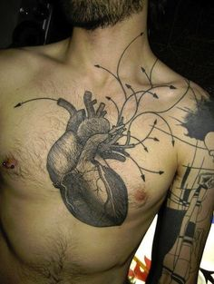 Anatomical Heart by Yann Black #InkedMagazine #anatomical #heart #tattoo #chest #tattoos #Inked #ink #art #blackandgrey