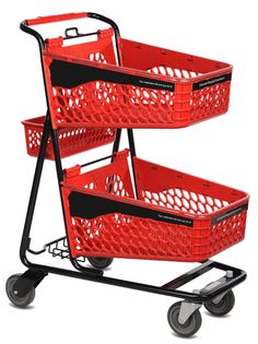 Modern Plastic Double Basket Cart