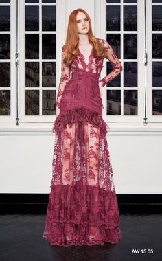 CHRISTOS COSTARELLOS AW 15-16 Christos Costarellos, Fall Winter 2015, Ready To Wear, Burgundy, Gowns, Couture, Formal Dresses, How To Wear, Designers