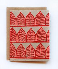 Five Hand Black Printed Cards & Envelopes @Katharine Watson $14.00 #handmade #kraft #stationery #card #envelope #red #ink #print #pattern #leaf