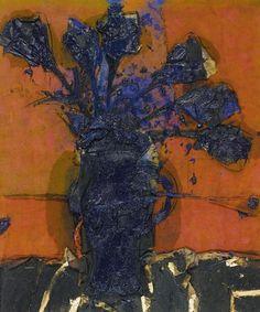 Manolo Valdés - Tulipanes sobre fondo naranja, 2007