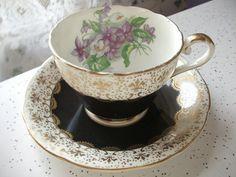 Vintage Aynsley tea cup set, black and gold fleur de lis tea cup and saucer English tea set, bone china tea cup, antique tea cup set violets