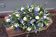 casket flowers bue and white - Google Search