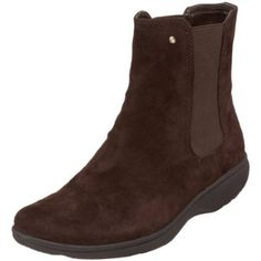 Details about New Womens Ecco Boots brown suede goretex mid calf zippered wedge