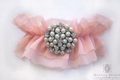 Pearl Brooch Garter/ Blush Pink Chiffon Garter by NatalieBriggs, $54.00