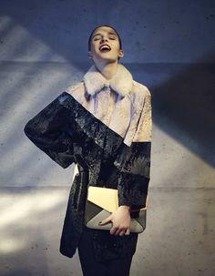 FENDI F/W 14 Fur Collection | Look 15 | Multicoloured mink fur, lamb skin and Persian lambs fur diagonal panelled coat | 22.200,00 € @ farfetch.com