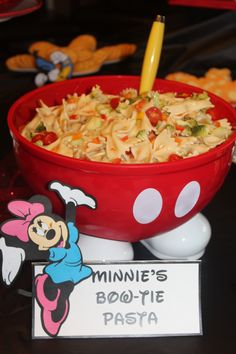 Minnie's Bow-Tie Pasta-Mickey Mouse birthday party!  I plan Disney trips, please follow me.  Courtney@travelwiththemagic.com