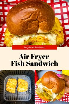 This Air Fryer Cod Fish Sandwich recipe is quick and easy to make using fillets breaded with panko and topped on a brioche bun with melted cheese, pickles, and tartar sauce. Cut the fat and make this healthy dish right at home. #AirFryer #AirFryerFish Fast Healthy Meals, Healthy Dishes, Quick Easy Meals, Healthy Food, Yummy Food, Healthy Recipes, Air Fryer Dinner Recipes, Air Fry Recipes, Fish Sandwich