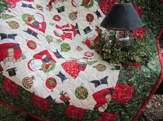 Santa Snowman table topper mini quilt table by granniesraggedybags, $25.00