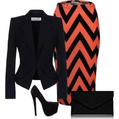 """""""black with chevron skirt"""" by julsan on Polyvore"""