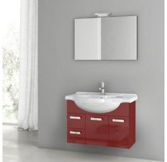 Buy the Nameeks ACF Glossy Red Direct. Shop for the Nameeks ACF Glossy Red ACF Wall Mounted / Floating Vanity Set with Wood Cabinet, Ceramic Top with 1 Sink and 1 Mirror and save. Vanity Set With Mirror, Wall Mounted Vanity, Wood Vanity, Vanity Cabinet, Vanity Units, Wall Mirror, Modern Baths, Modern Bathroom, Corner Bathroom Vanity