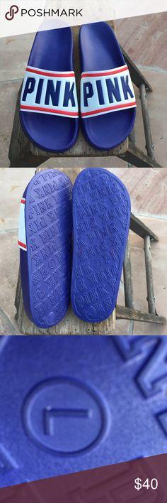 ❤️️SALE ❤️️PINK VICTORIA SECRET Slides Large 9-10 Size Large (9-10) never worn see photo of bottom . PINK Victoria's Secret Shoes Sandals
