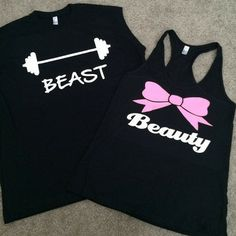 Beauty and Beast - Couples Workout Shirts - Fitness Tanks - Matching Tanks - Ruffles with Love