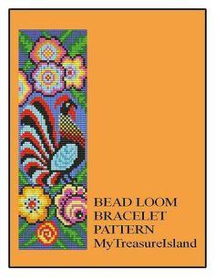 Bead Loom Folk Rooster Folk Art Bird Wide Cuff by MyTreasureIsland