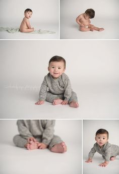 7 month old boy white backdrop studio Kimberly Neyer Rockford Baby Photographer_0001