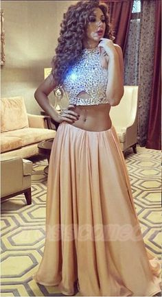 Charming Champagne Two Pieces Long Prom Dresses,Chiffon Prom Dress, Handmade Prom Gowns http://www.luulla.com/product/590039/charming-champagne-two-pieces-long-prom-dresses-chiffon-prom-dress-handmade-prom-gowns