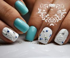 50 Beautiful Stylish and Trendy Nail Art Designs for Christmas Winter Nail Designs, Christmas Nail Designs, Christmas Nail Art, Nail Art Designs, Xmas Nails, Holiday Nails, Diy Nails, American Manicure Nails, Manicure And Pedicure