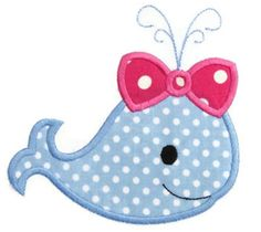 Girl Whale Applique Design by SimplySweetEmbroider on Etsy Baby Applique, Machine Embroidery Applique, Applique Quilts, Embroidery Files, Hand Embroidery, Applique Templates, Applique Patterns, Applique Designs, Quilt Patterns