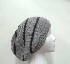 Gray with black stripes oversized slouch hat  4960 by CaboDesigns, $26.00 - The colors of this slouchy hat are gray with four black stripes. Very stretchy, will fit any head, stretches out to 31 inches around. Available at:  http://www.CaboDesigns.etsy.com