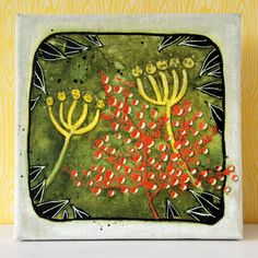 Marsha Valk using my What's The Point Stencil on this wonderful Mixed-Media Nature Canvas