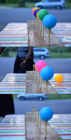 Golf tees and ping-pong balls - shoot your water guns!