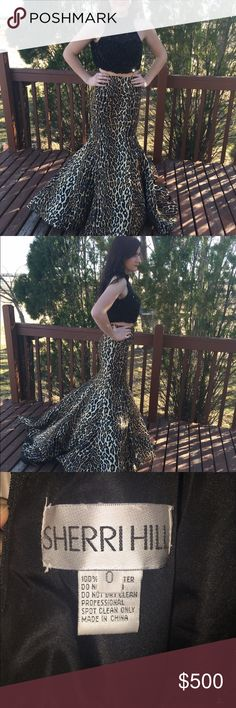 Sherri Hill Prom Dress Size 0 two piece Sherri Hill prom dress. New without tags. Black beaded top and cheetah mermaid skirt. Feel free to make an offer! Sherri Hill Dresses Prom