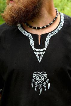 Male tunic Black Veleyar; Medieval tunic; Viking tunic