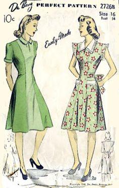 Little Black Car: 1940s dress with collar