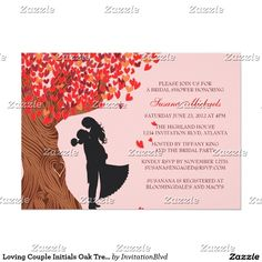 Loving Couple BRIDAL SHOWER Custom Monogrammed Initials Oak Tree Fall Autumn Invties Announcements Invitations~Easy online ordering and customizing! Order 25 invites and save 15%, order 50+ invites and save 25% off every order, what a DEAL!!  #bridalshower #fall #tree #leaves