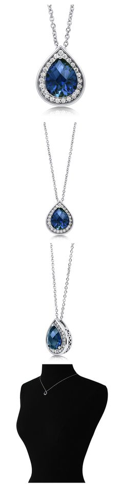 Sterling Silver Pear CZ Halo Fashion Necklace #N100